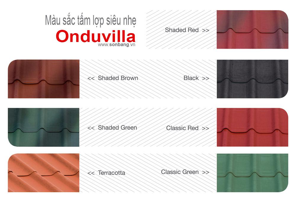 Màu sắc tấm lợp Onduvilla siêu nhẹ